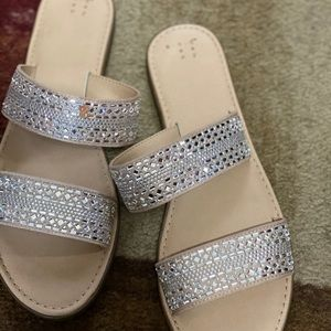 A new day brand sandals with sparkling crystals